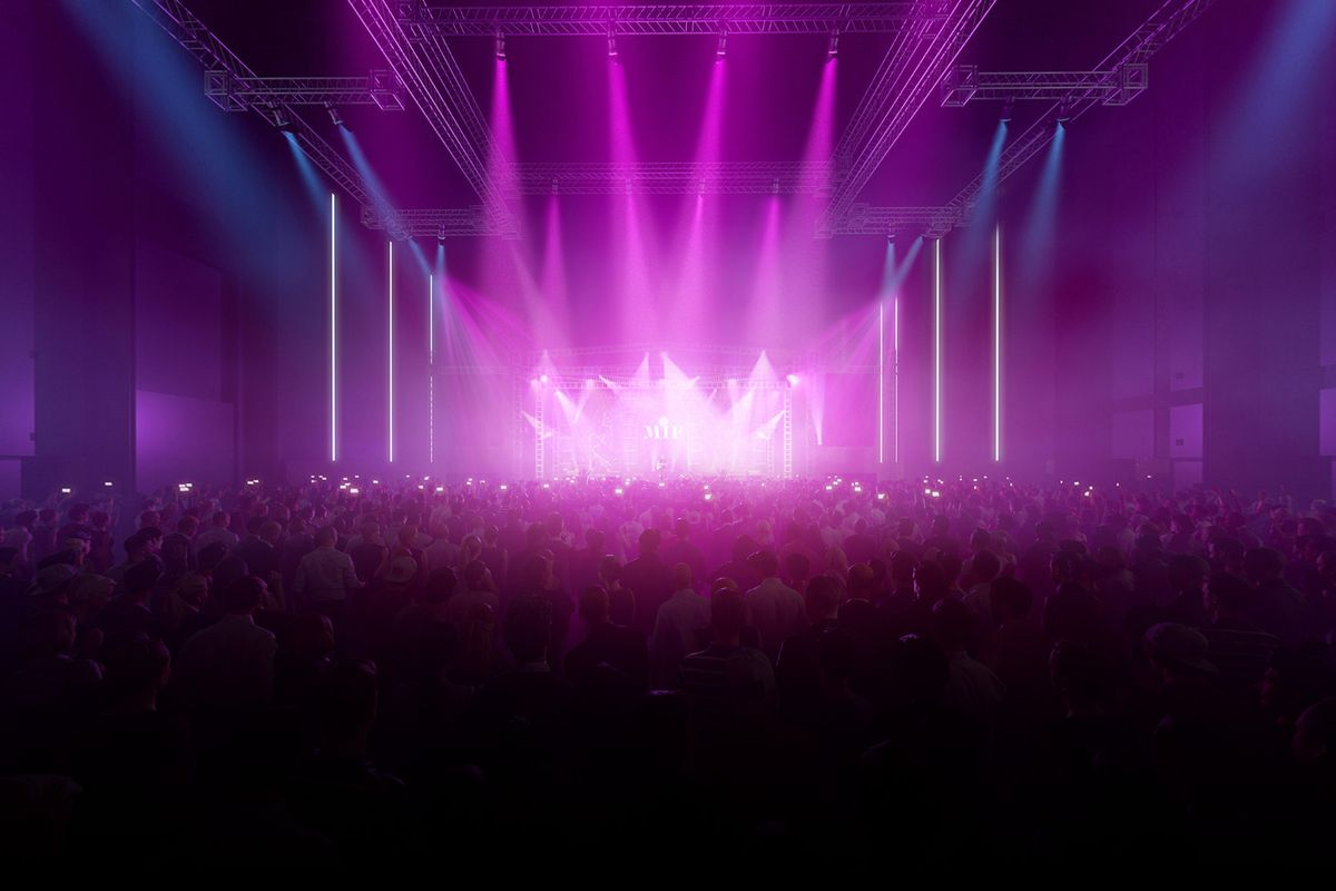 Rendering of a concert with light show