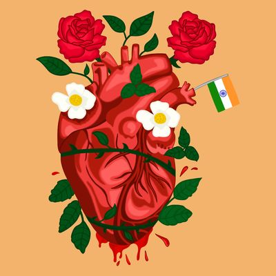 Illustration on light brown background of an anatomical heart, which is entangled by thorns and bleeding at the bottom. Leaves and a few flowers are sprouting out of the thorns, including two red roses at the top and two white daisies on the atria. A small Indian flag pokes out of the left pulmonary vein.
