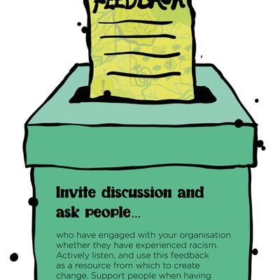 """Text: """"Invite discussion and ask people who have engaged with your organisation whether they have experienced racism. Actively listen, and use this feedback as a resource from which to create change. Support people when having triggering conversations."""" In the illustration, the text is shown on the size of a green feedback box; the box has a window in the top and a yellow form, titled 'Feedback' with lines representing text underneath, is going in."""