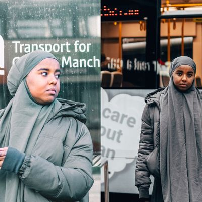 Two photographs next to each other, separated by a straight line down the middle. On the left, Ebyan holds her phone while waiting at the bus stop, looking over her shoulder. On the right, Ebyan stands in front of a bus, looking directly at the camera.