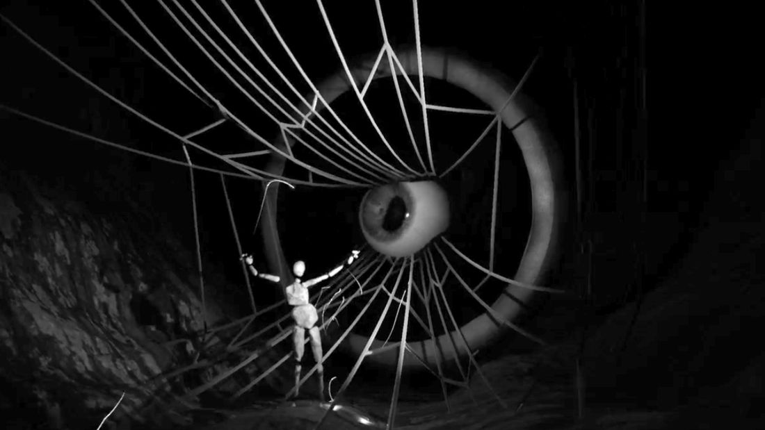 A digital image where a stone humanoid figure (Puck) stands in front of a large eyeball with long cobwebs for eyelashes (Cobweb)