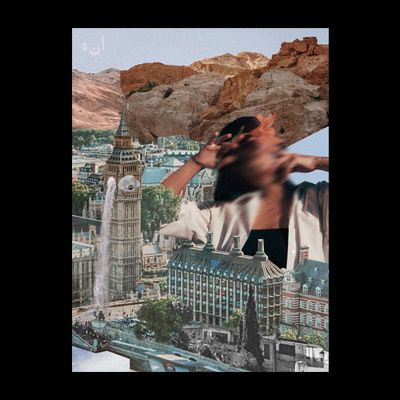 A collage landscape comprised of vintage photos. At the bottom, Westminster Bridge crosses a deep blue Thames, with mountain caps resembling waves under the bridge. On the other side of the river is the Houses of Parliament, with more modern buildings and trees behind it, with desert mountains and a large aqueduct further in the distance. Coming out of one Houses of Parliament squares is a large waving hand holding two flowers. In the top left-hand corner are the letters: ي م ت ن ت