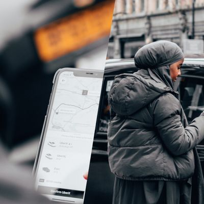 Two photos next to each other, separated by a slanted line down the middle. On the right, we look over the Ebyan's shoulder and can see her holding her phone, which shows her Uber route and vehicle options. On the right, we see her from further away, looking at her phone in front of a black cab.
