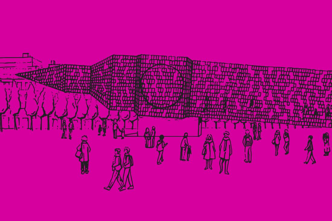 Pink cartoon image of a big ben shaped object lying sideways with people walking around
