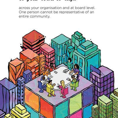 """Text: """"Aim to reflect the diversity of your town or city across your organisation and at board level. One person cannot be representative of an entire community."""" The illustration is of brightly coloured skyscraper buildings seen from above. On top of the largest, central building, a diverse group of 8 people sit or stand around a board room table with papers and devices in front of them."""