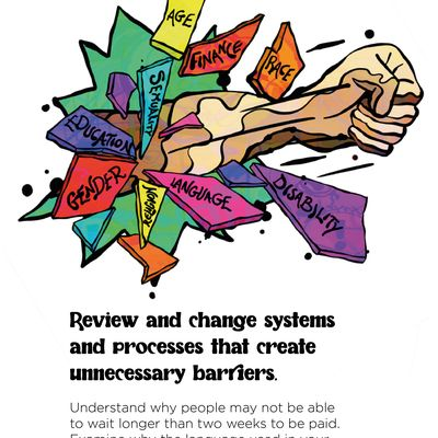 """Text: """"Review and change systems and processes that create unnecessary barriers. Understand why people may not be able to wait longer than two weeks to be paid. Examine why the language used in your job descriptions may discourage people from applying."""" In the illustration, a fist with a multitude of different skin colours smashes through brightly coloured shards that say (in clockwise order): age, finance, race, disability, language, religion, gender, education, sexuality."""