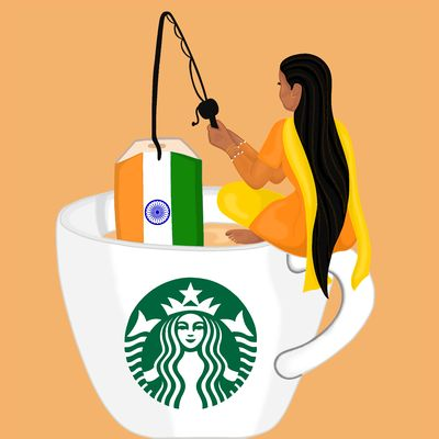 Illustration on light brown background of a woman in an orange and yellow salwar kameez, who sits cross-legged on top of a large cup that is decorated with the Starbucks logo and filled with tea. In her hand, she is holding a black fishing rod, which has a teabag with the Indian flag hooked onto the end.