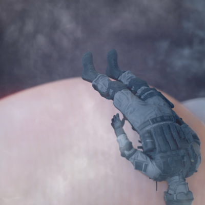 Extreme close-up of a white person's fingertip. You can make out the fingerprint. Across the top of the tip a soldier, perhaps a toy soldier, is wearing full combat gear including gas-mask. The soldier is lain on it's back.