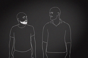 A computer graphic of two men outlined in white against a black background