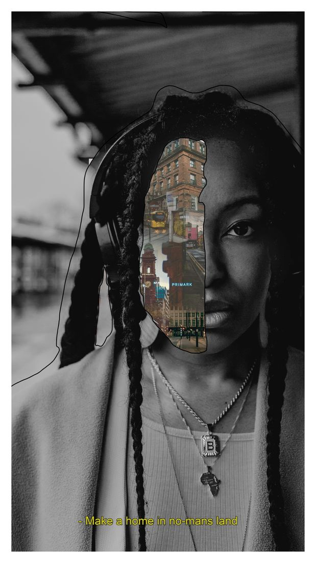 """A black-and-white film portrait of a young woman wearing headphones and necklaces, one with a pendant in the shape of the African continent and another with the letter """"B"""". She is stood at a bus shelter, which is out of focus. There is a black outline around her figure and covering half of her face are colour film photographs of Manchester city centre fading into one another. A subtitle at the bottom reads: """"Make a home in no-man's land"""""""