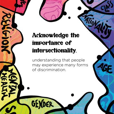 """Text: """"Acknowledge the importance of intersectionality, understanding that people may experience many forms of discrimination."""" The text is on a white background, framed by colourful shapes organised in rainbow formation. The shapes have words in them; reading clockwise, they are: race, culture, class, nationality, age, identity, gender, sexuality, mental health, religion, language."""