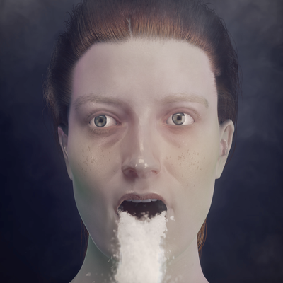 Front facing image of a white woman from above the neck. She has green cheeks and tied back auburn hair, a waterfall pouring out of her mouth. The background is dark and smoky.